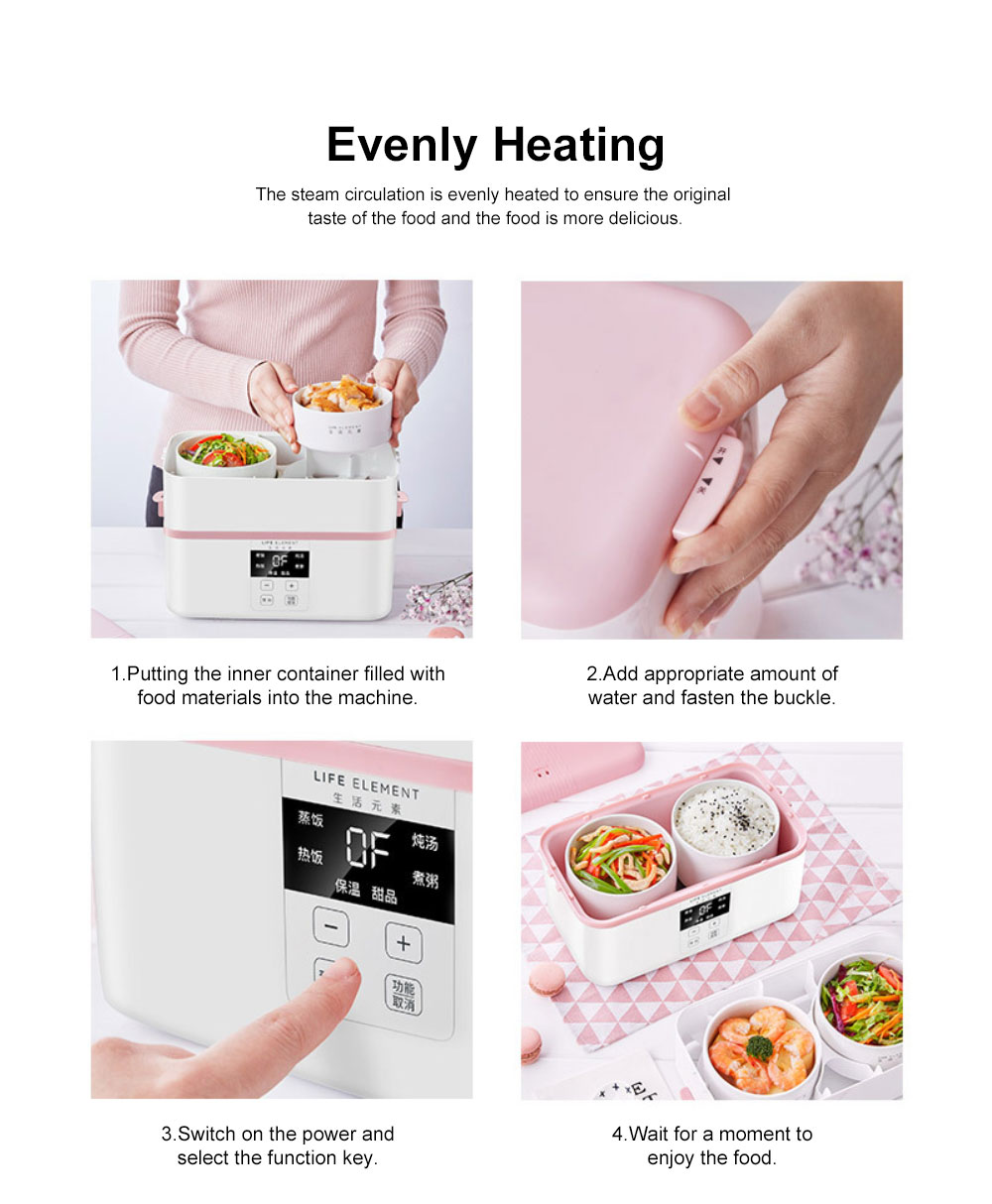 Electric Lunch Box Ceramic Intelligent Reservation Timing Lunch Box, Large Capacity Double-layer Heat Preservation Box 3