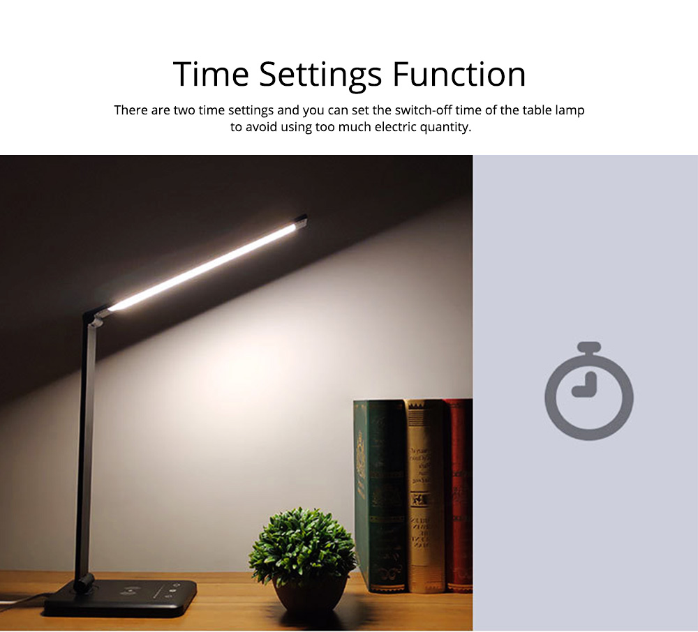 Intelligent Touch Lighting, Foldable Adjustment Rotation Aluminum Table Light for Students, Wireless Charging 5 Settings LED Table Lamp 5