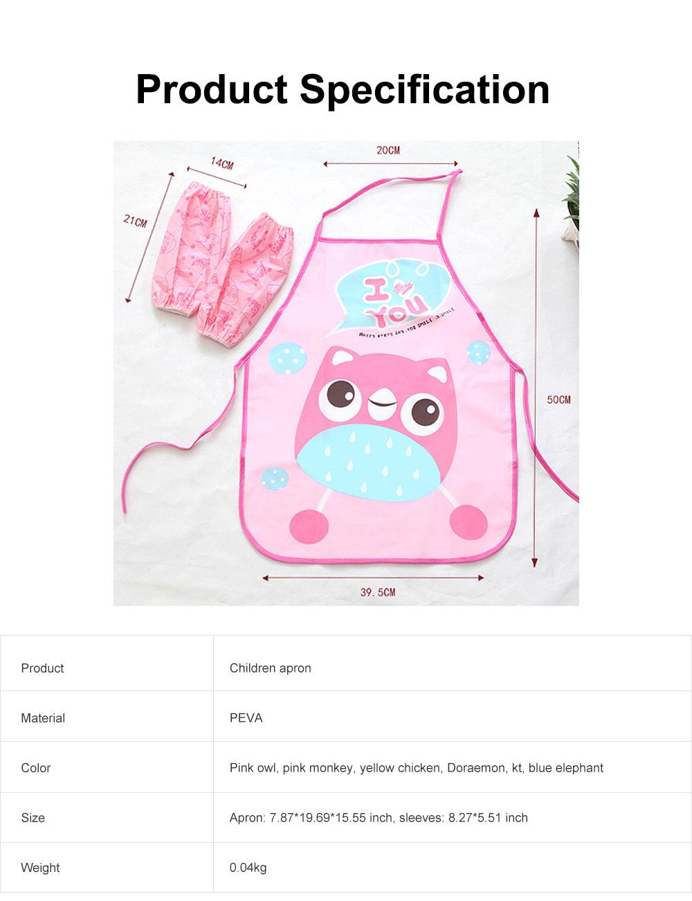 Children Cartoon Apron, PEVA Creative Lovely Pattern Cute Apron, Waterproof Painting Anti-fouling Sleeveless Bust Apron 6