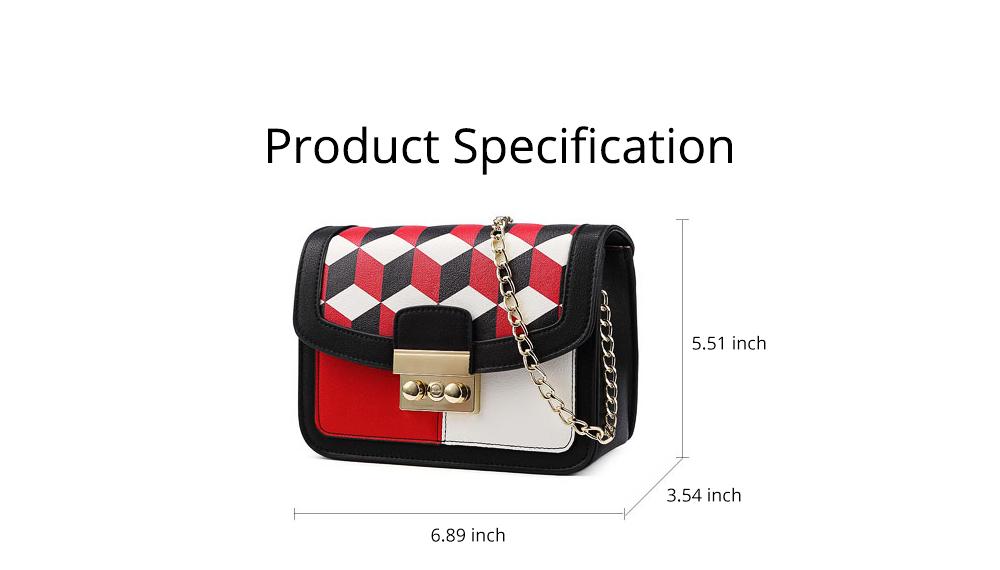 Minimalist Unique Contrast Colors Checked Women Shoulder Bag, Quality Metal Chain Geometric Figure Pattern Sling HandBag for Ladies 8