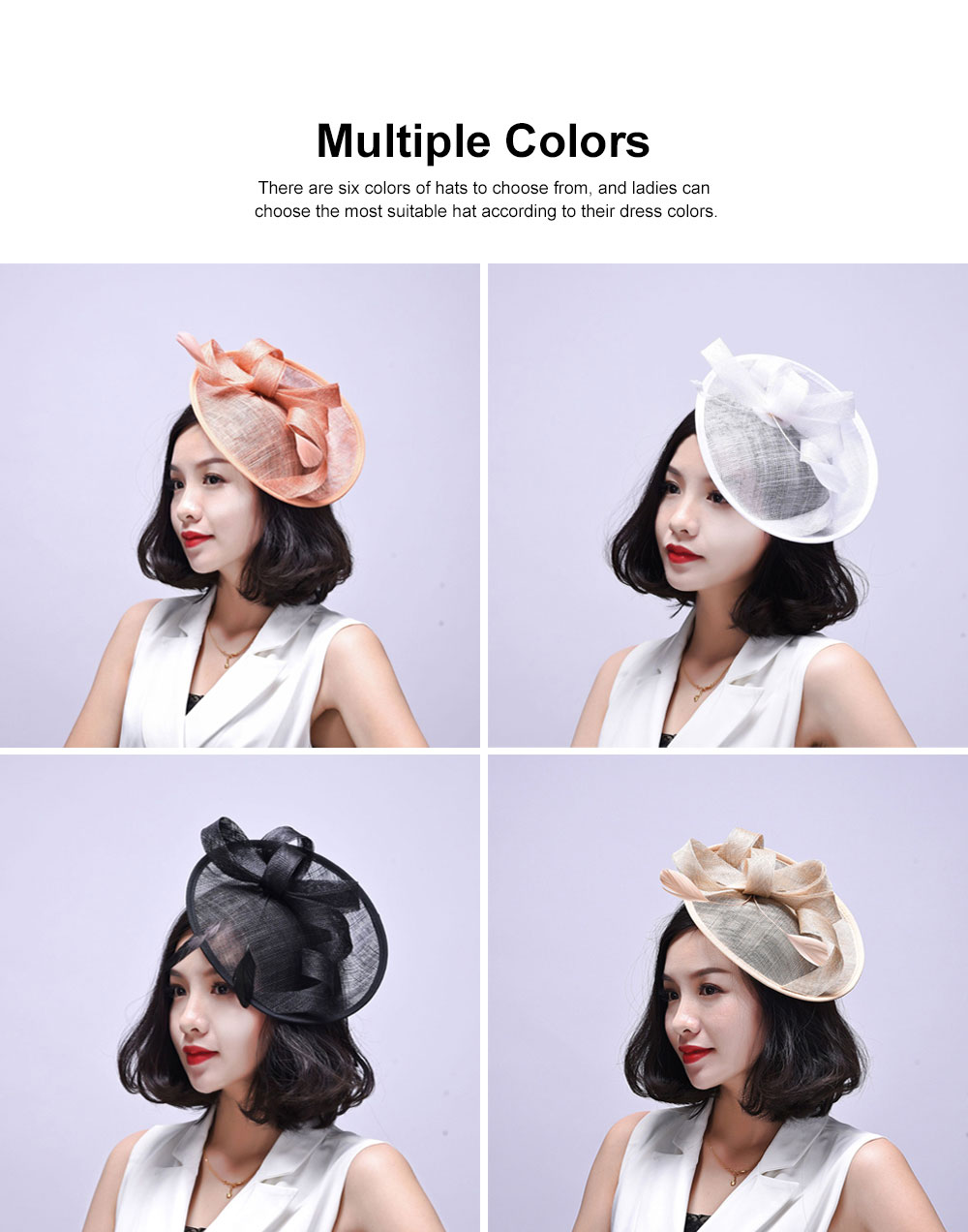 Women Headdress, Horse Riding Yarn Bowknot Feather Top Hat, Banquet Wedding Accessory Headwear 1
