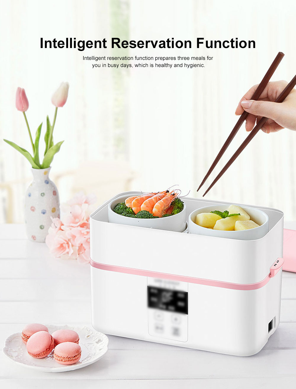 Electric Lunch Box Ceramic Intelligent Reservation Timing Lunch Box, Large Capacity Double-layer Heat Preservation Box 1