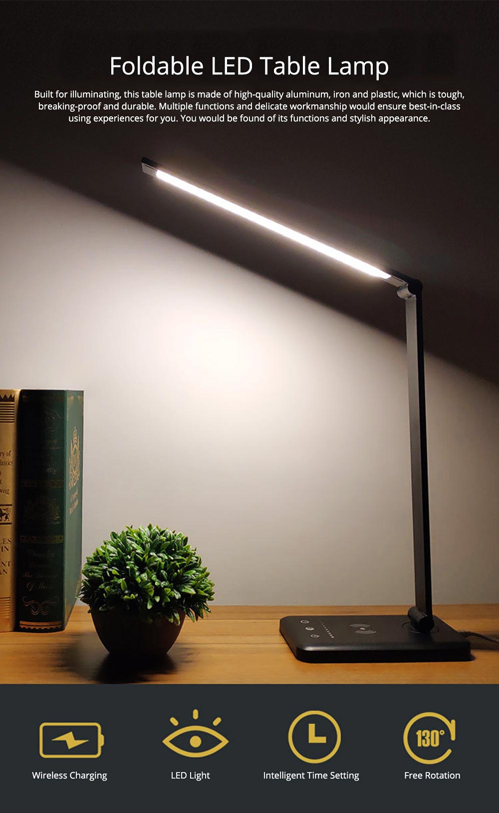 Intelligent Touch Lighting, Foldable Adjustment Rotation Aluminum Table Light for Students, Wireless Charging 5 Settings LED Table Lamp 0