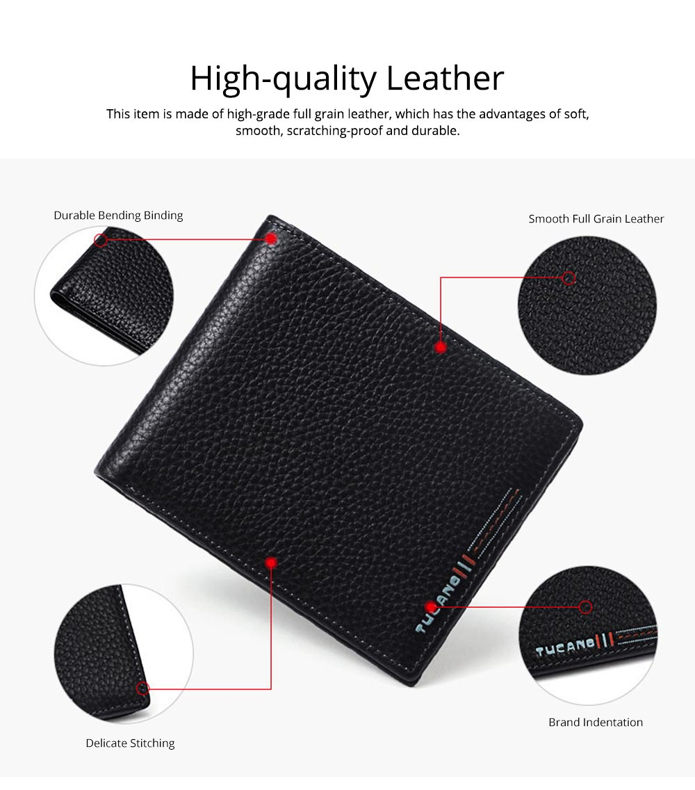 Simple Pure Color Business Full Grain Leather Men Wallet, Minimalist Fashion Teenager Two Folded Cowhide 1