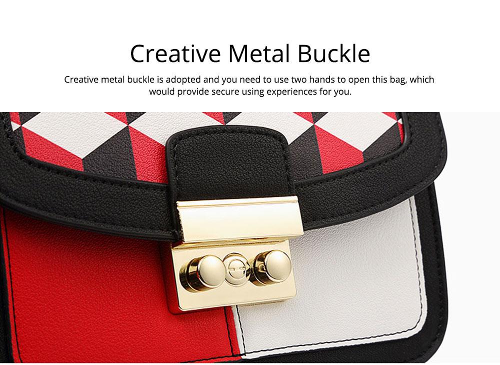 Minimalist Unique Contrast Colors Checked Women Shoulder Bag, Quality Metal Chain Geometric Figure Pattern Sling HandBag for Ladies 3