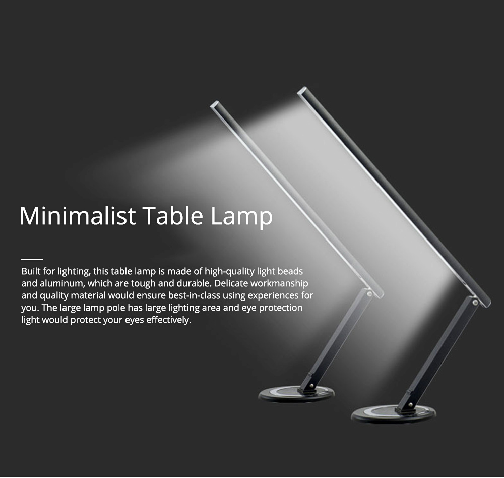 Creative Minimalist Fashion Large Foldable Eye Protection Table Lamp, Modern Tough Aluminum Bedside Office Light 10W Cool White 0