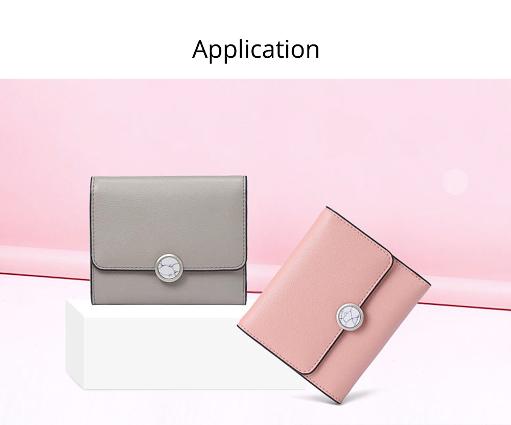 Minimalist Elegant Pure Color Small Leather Lady Purse, Functional Three Folded Smooth Oxhide Buckle Women Purse 6