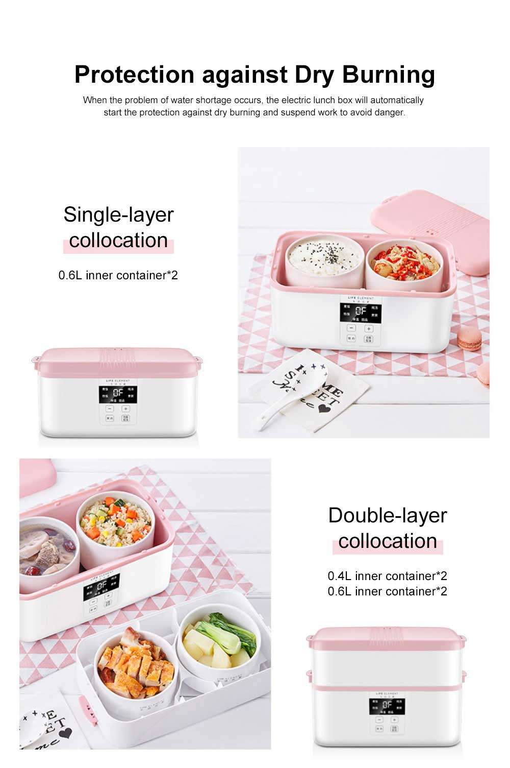 Electric Lunch Box Ceramic Intelligent Reservation Timing Lunch Box, Large Capacity Double-layer Heat Preservation Box 6