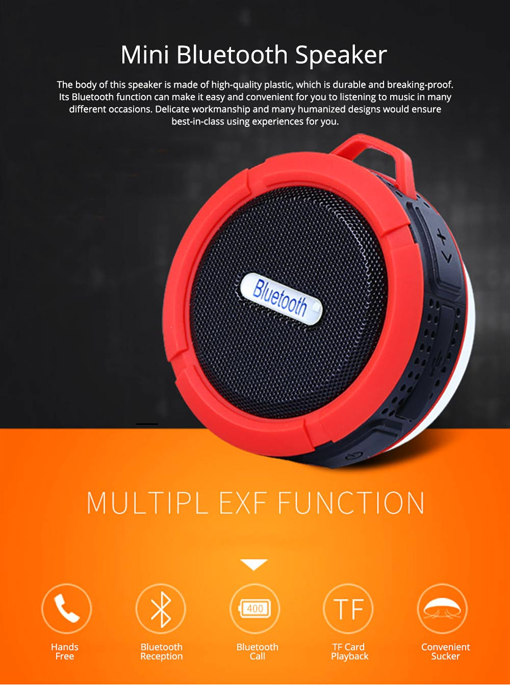 Outdoors Portable Mini Wireless Bluetooth4.0 Speaker, Functional Waterproof Small Sound Box with Sucker, Portable 3D Sound Quality Audio 0