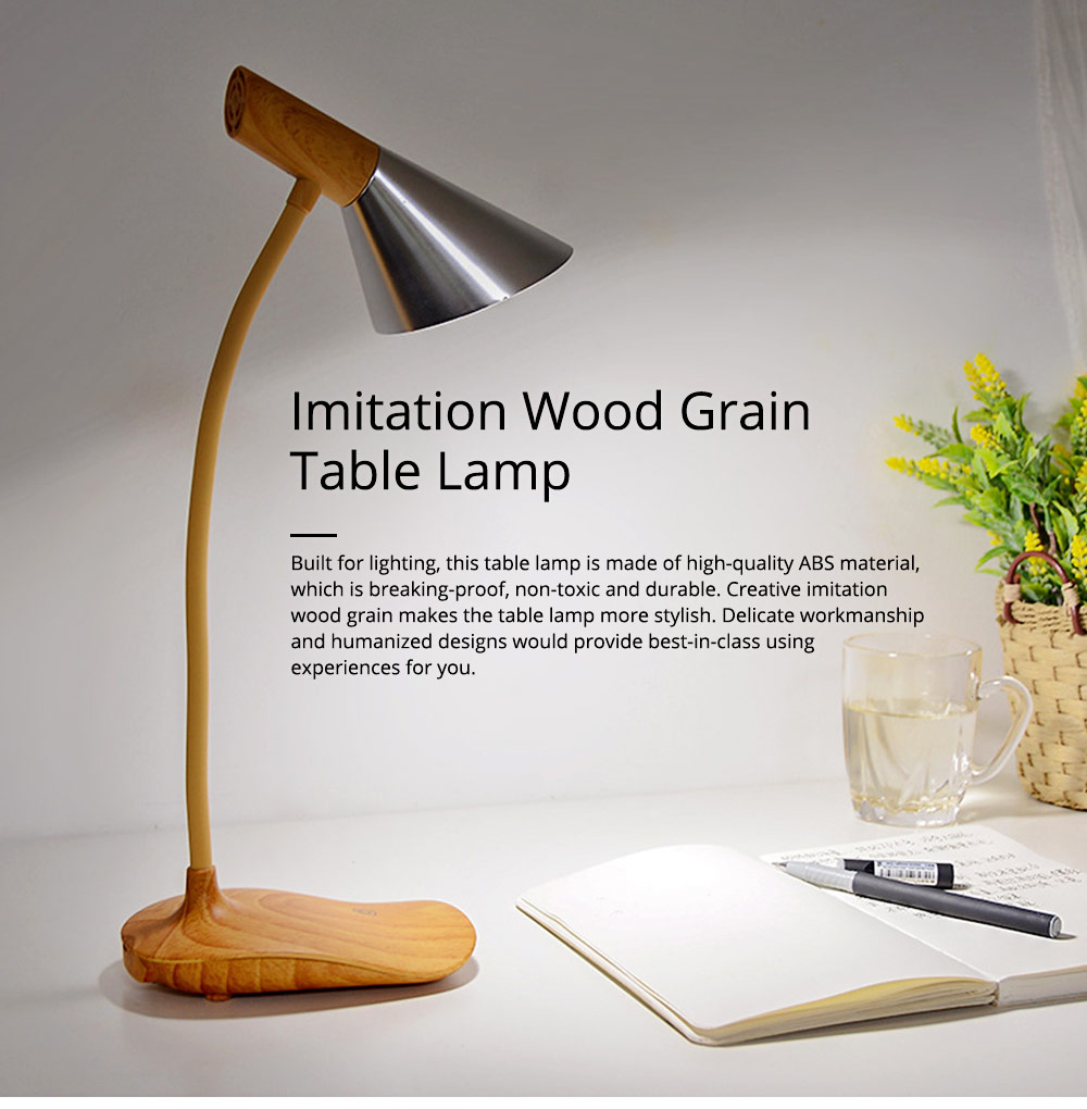Creative Minimalist Imitation Wood Grain LED Table Lamp, Quality ABS Touch Control Bedside Office Student Light with Clip 0