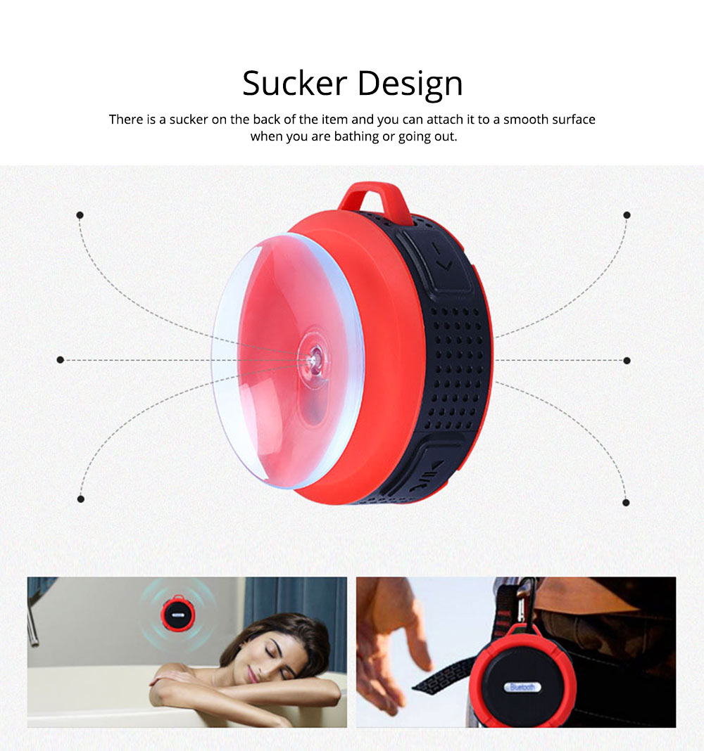 Outdoors Portable Mini Wireless Bluetooth4.0 Speaker, Functional Waterproof Small Sound Box with Sucker, Portable 3D Sound Quality Audio 8