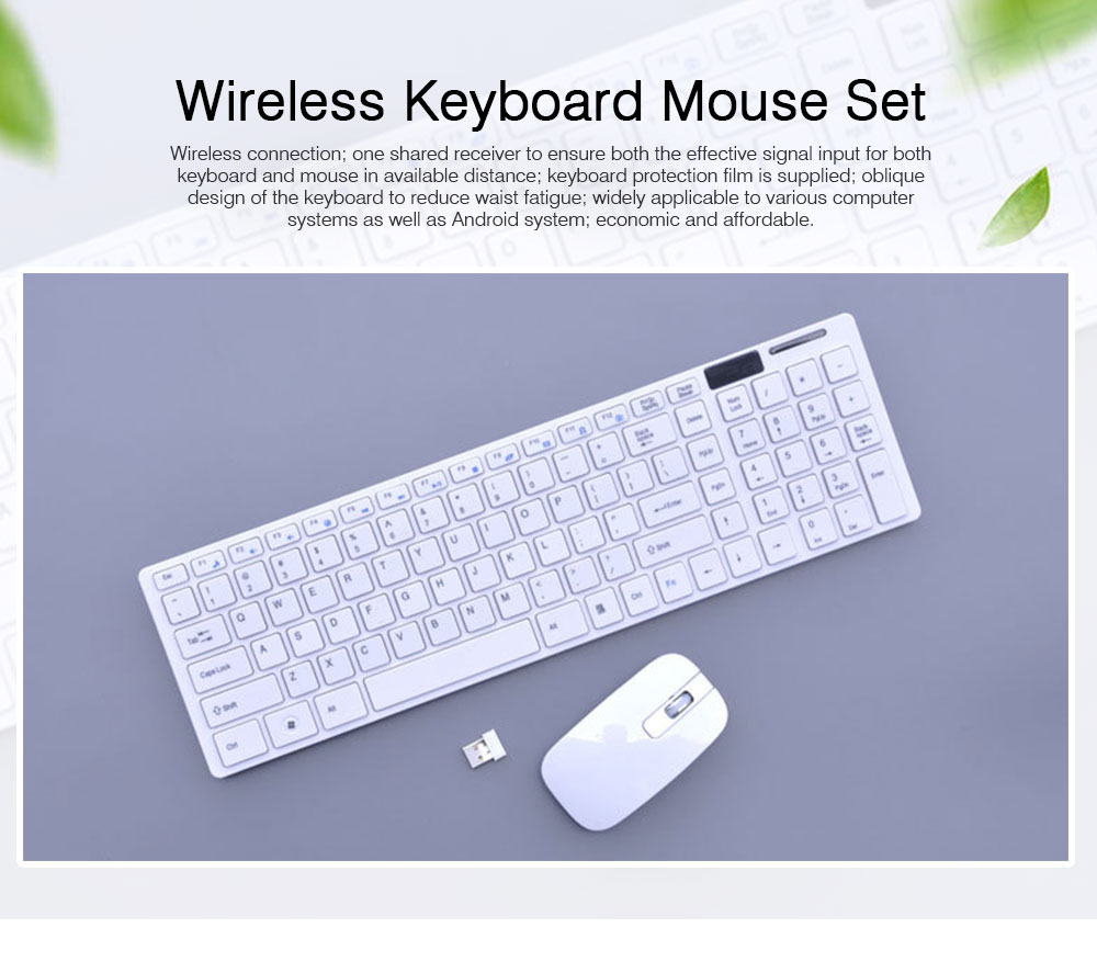 14 Inch Chocolate 2.4G Wireless Keyboard with Mouse Set, Ultrathin Wireless Keyboard Mouse Set for Mac Win 7 Win 8 Android XP System 0