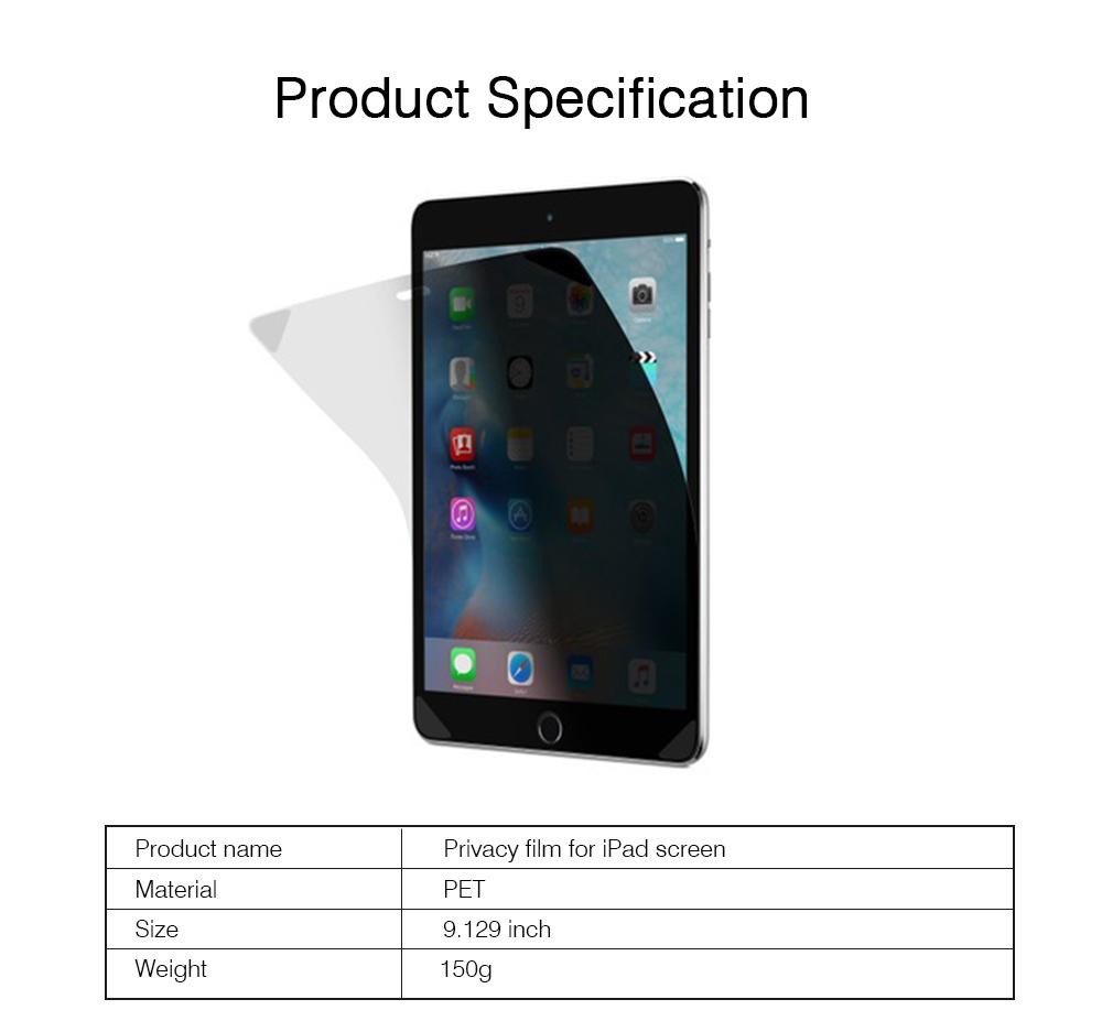 Privacy Film for iPad Screen Protective, Peep-proof Protection Film Skin Apple iPad air 2,iPad mini1 2 3,iPad2 3 4,iPad mini 4, iPad pro 9.7, Pro 12.9 10.5 6