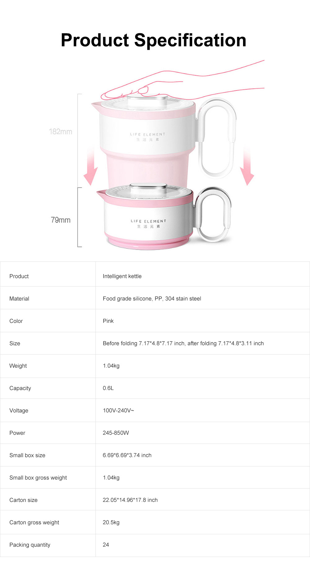 Portable Electric Heating Cup, Food Grade Silicone Pink Compression Folding Kettle for Travel, Life Element Intelligent Water Bottle 7