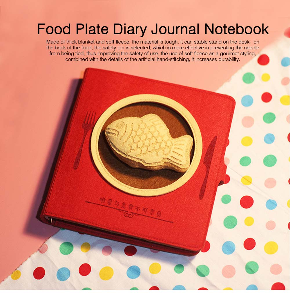 Stationery Creative Korea Japan Food Plate Diary,Loose-leaf Material Thick Blanket Soft Fleece Journal Notebook  0