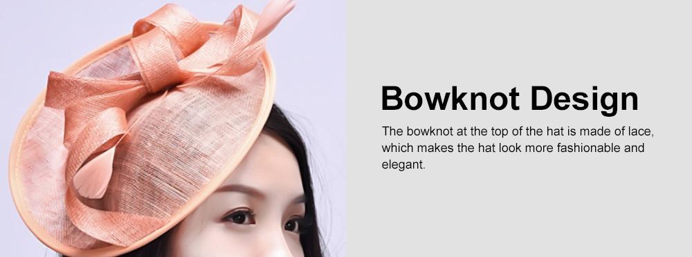 Women Headdress, Horse Riding Yarn Bowknot Feather Top Hat, Banquet Wedding Accessory Headwear 5
