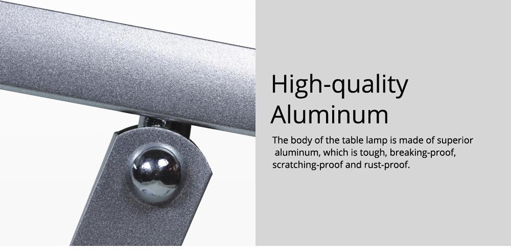 Creative Minimalist Fashion Large Foldable Eye Protection Table Lamp, Modern Tough Aluminum Bedside Office Light 10W Cool White 4