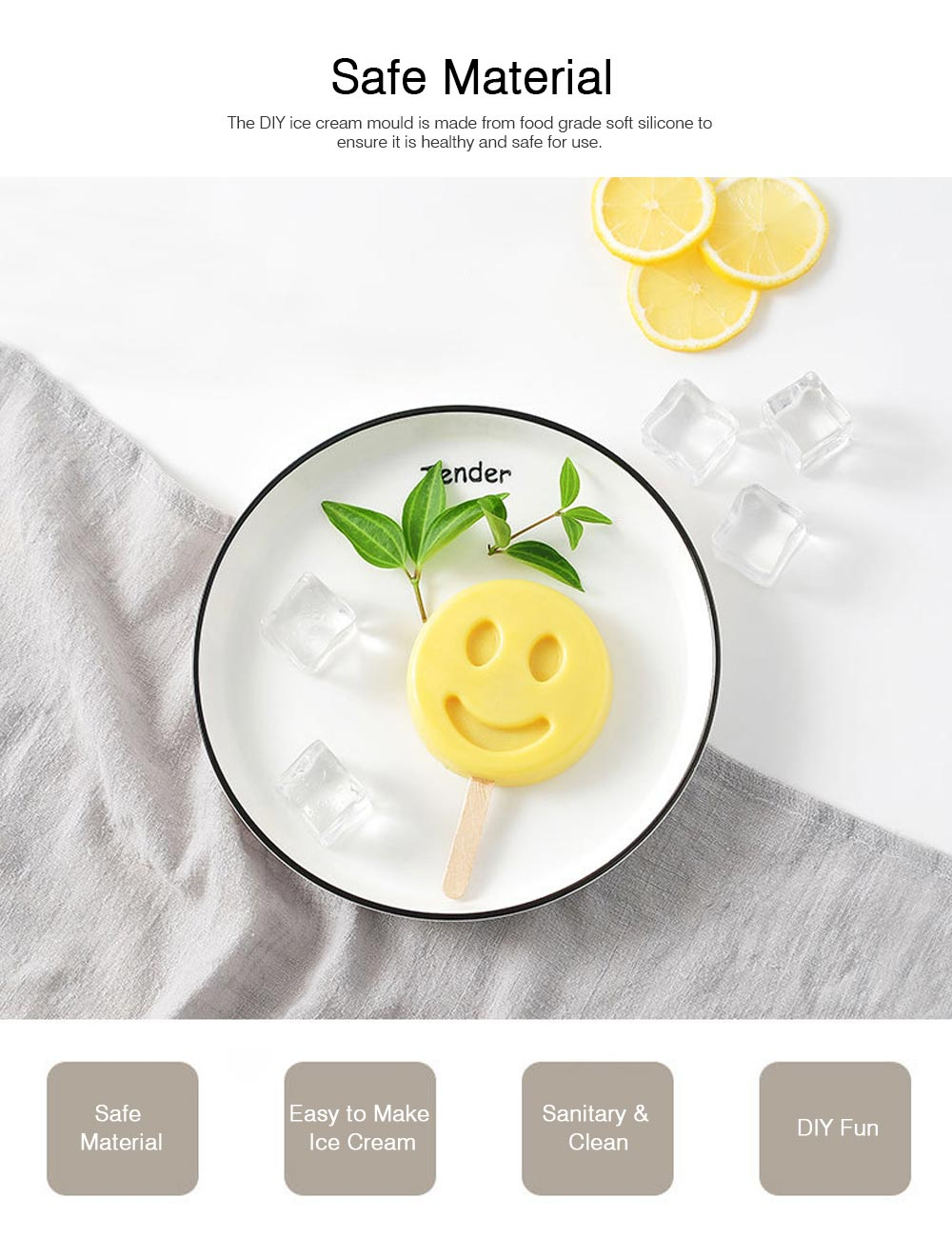 DIY Animal Fruit Shape Ice Cream Mould, Silicone Popsicle Ice Cream Mould Set, Popsicle Molds 1