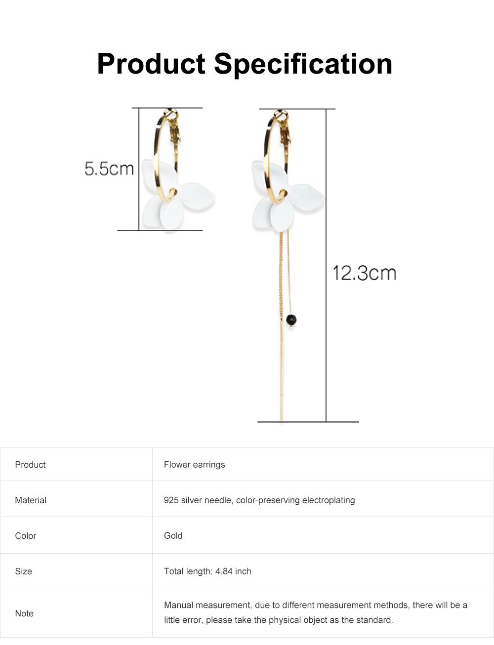 925 Silver Earrings, Fashion Asymmetric Long Pendant, Chic Gold Circle Hoop Seaside Holiday Style Flower Eardrop 6