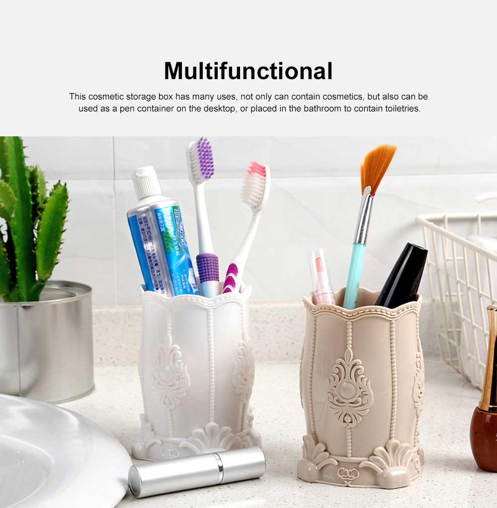 Cosmetic Storage Box, Plastic Western Style Multifunctional Desktop Office Storage, Pen Container Makeup Brush Holder 2