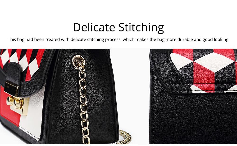 Minimalist Unique Contrast Colors Checked Women Shoulder Bag, Quality Metal Chain Geometric Figure Pattern Sling HandBag for Ladies 6