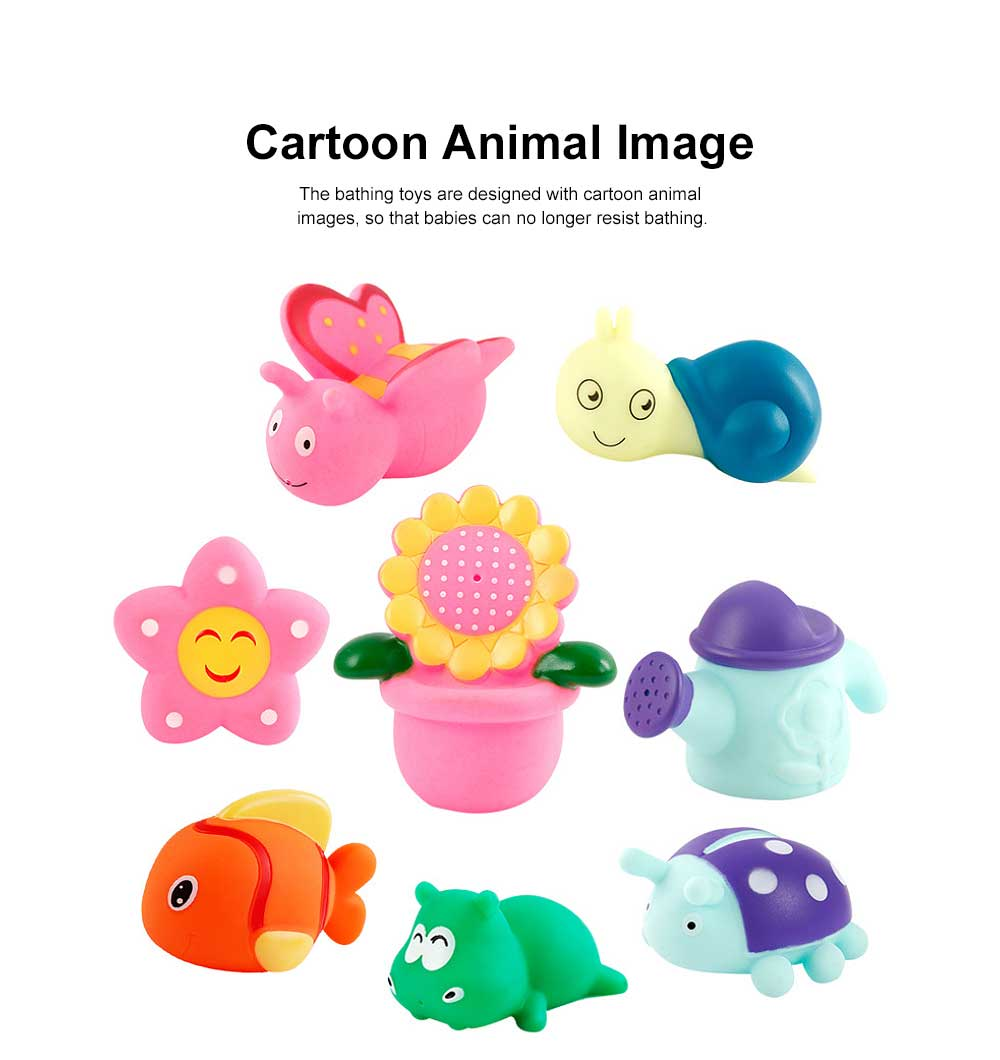 Baby Shower Bath Toys, Soft Silicone Floating Squeeze Water Spray Bathtub, Cartoon Animals Bathing Toys 1