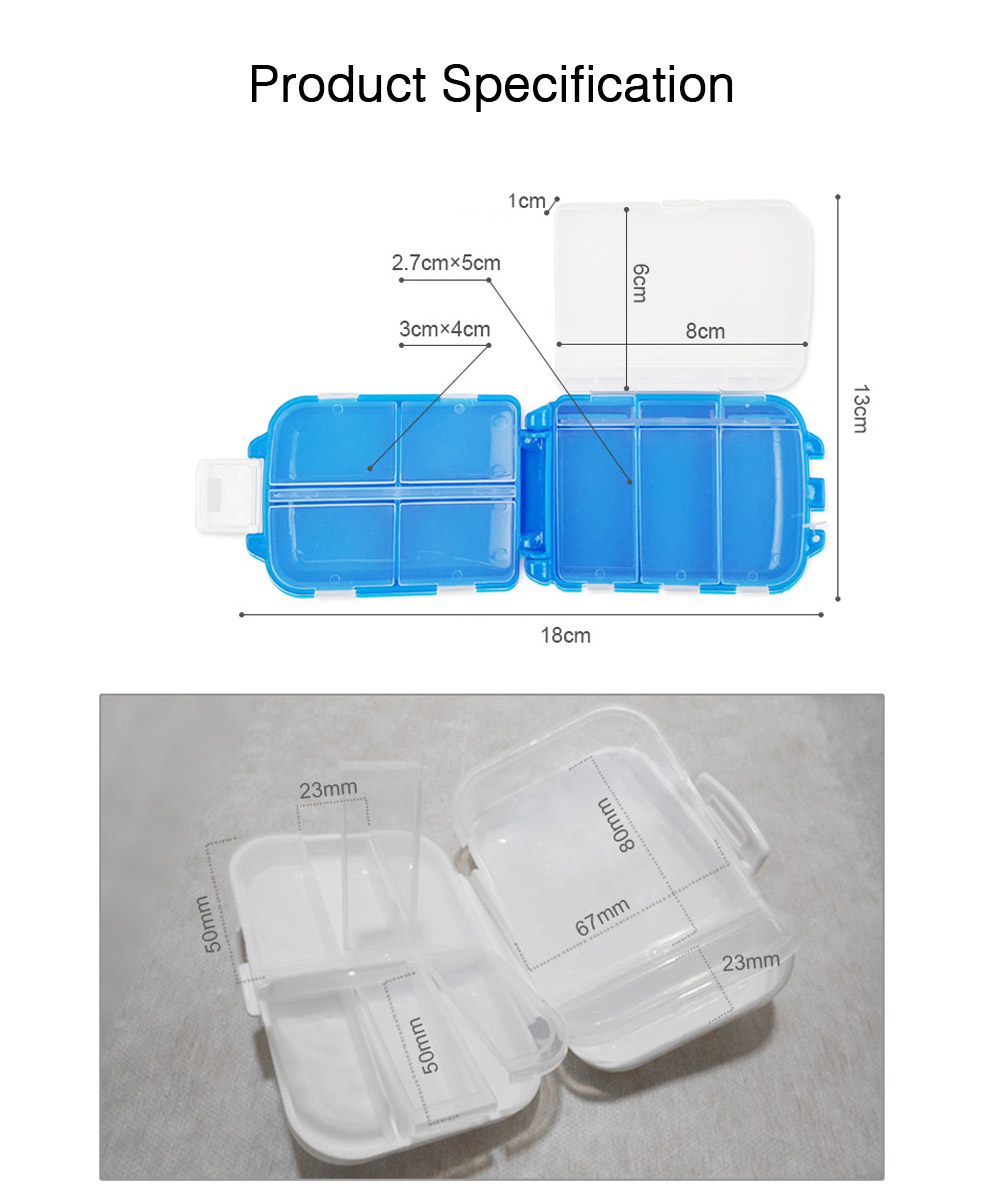 Portable One Week Eight Compartment Pill Box, Plastic Mini Pill Organizer Easy Carry, Multifunctional Medicine Box Medication Organizer 6