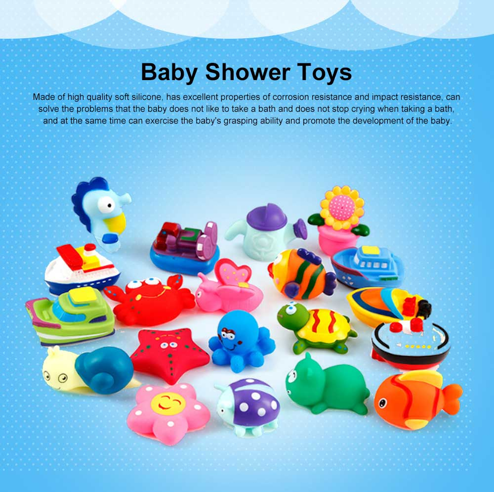 Baby Shower Bath Toys, Soft Silicone Floating Squeeze Water Spray Bathtub, Cartoon Animals Bathing Toys 0