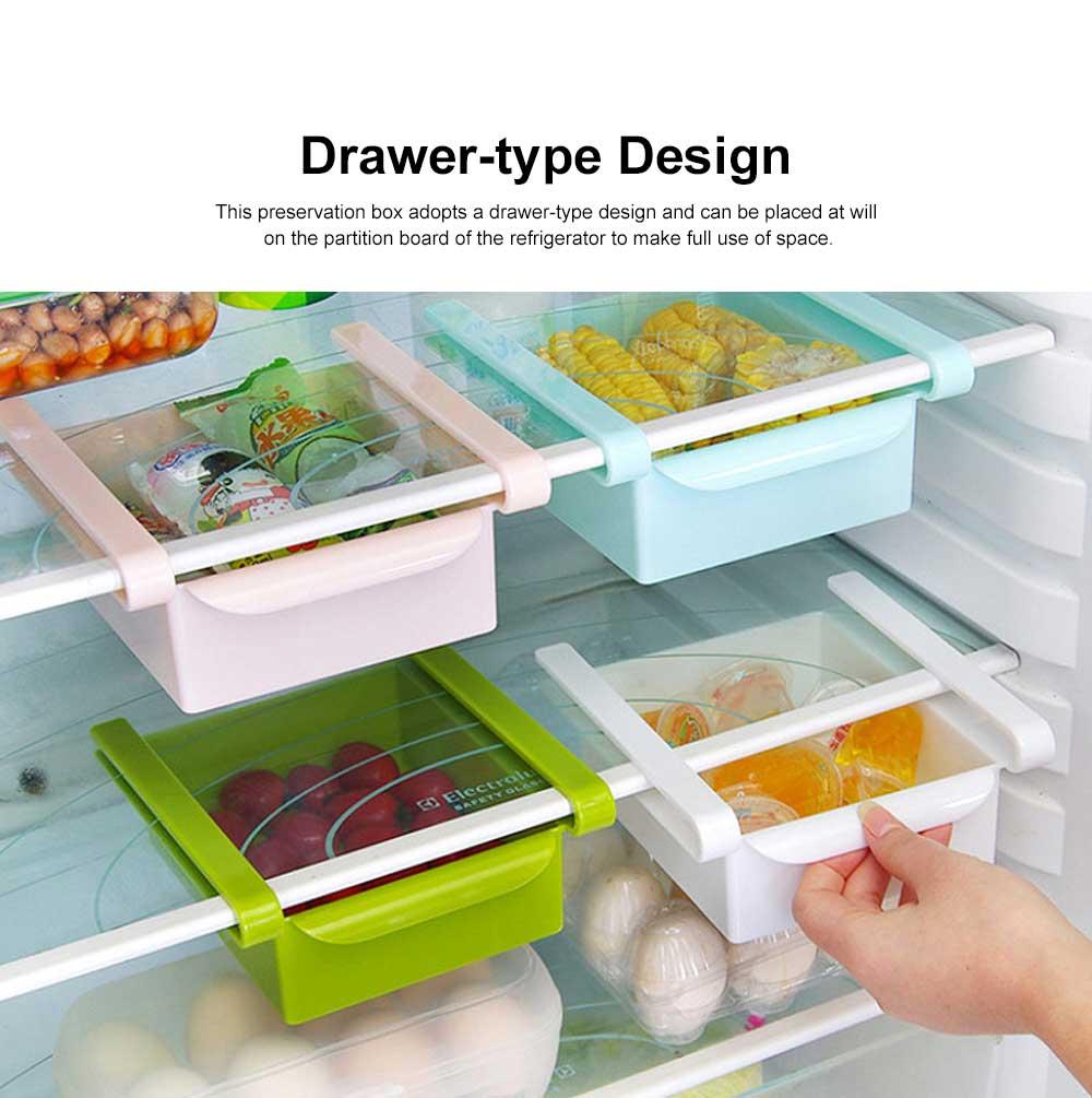 Refrigerator Storage Box, PP Kitchen Drawer-type Preservation Box, Refrigerator Interlayer Tray Commodity Shelf Organizer Container 1