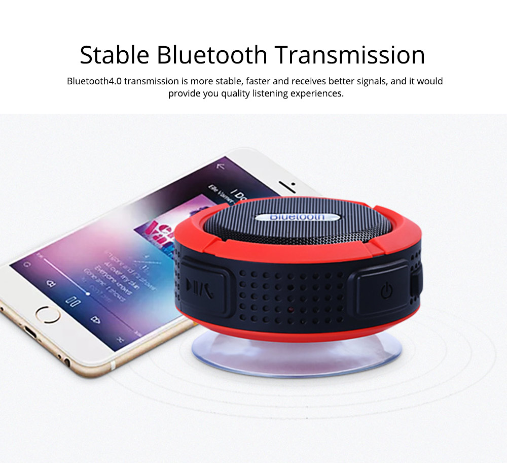 Outdoors Portable Mini Wireless Bluetooth4.0 Speaker, Functional Waterproof Small Sound Box with Sucker, Portable 3D Sound Quality Audio 3