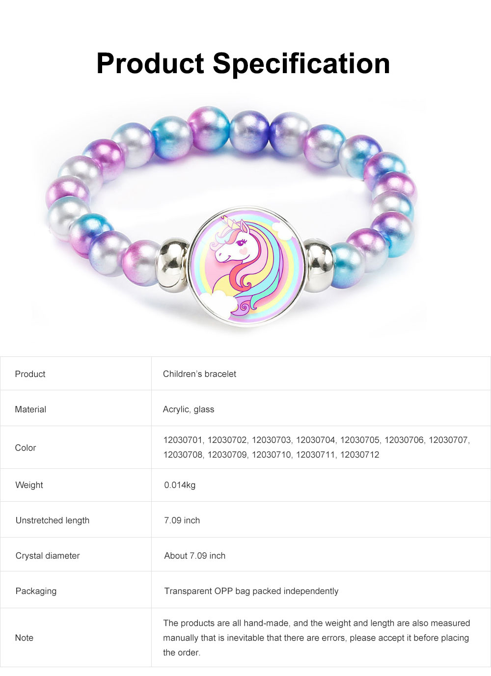 Lovely Unicorn Bracelet for Children Creative Fashion Cartoon Accessory Colorful Beads Jewelry Birthday Gift 6