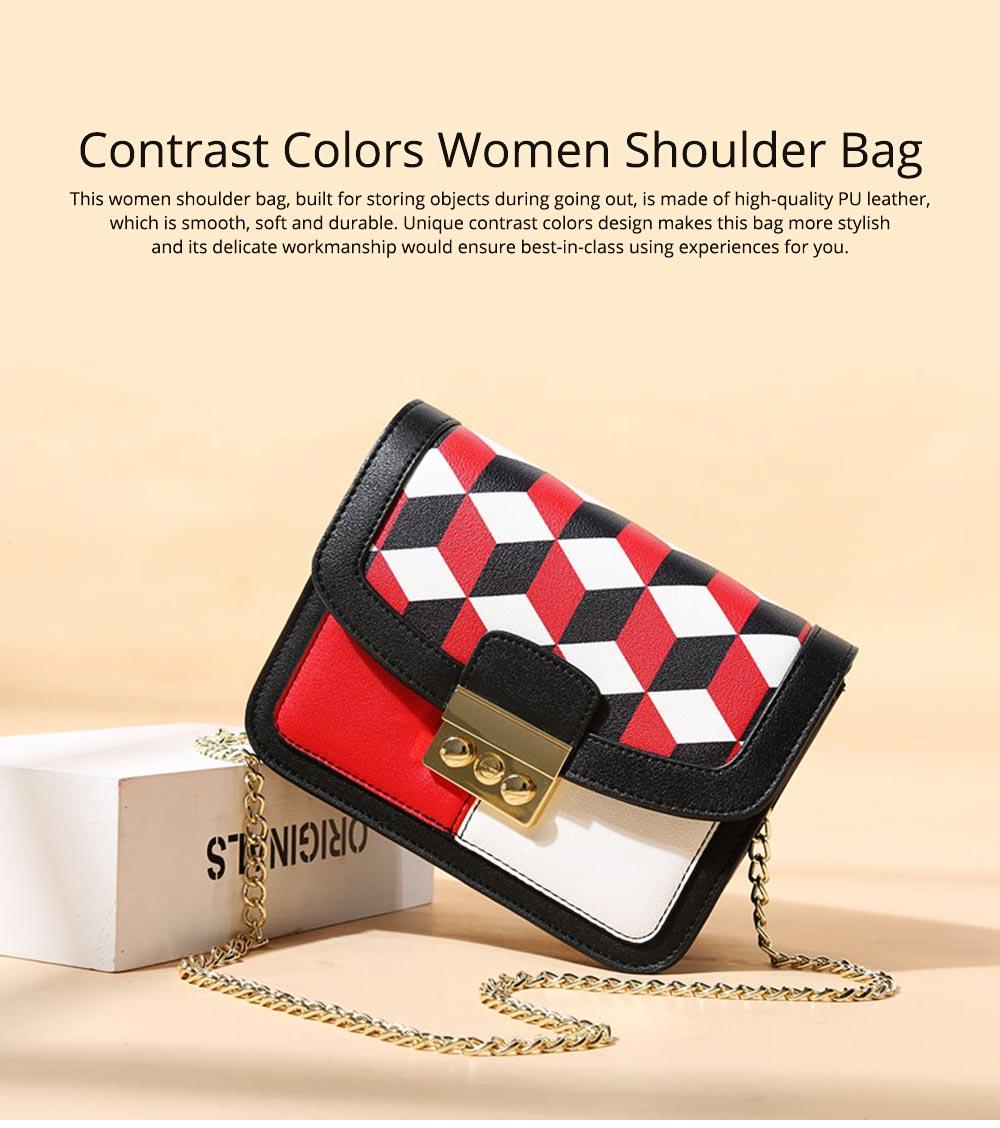 Minimalist Unique Contrast Colors Checked Women Shoulder Bag, Quality Metal Chain Geometric Figure Pattern Sling HandBag for Ladies 0