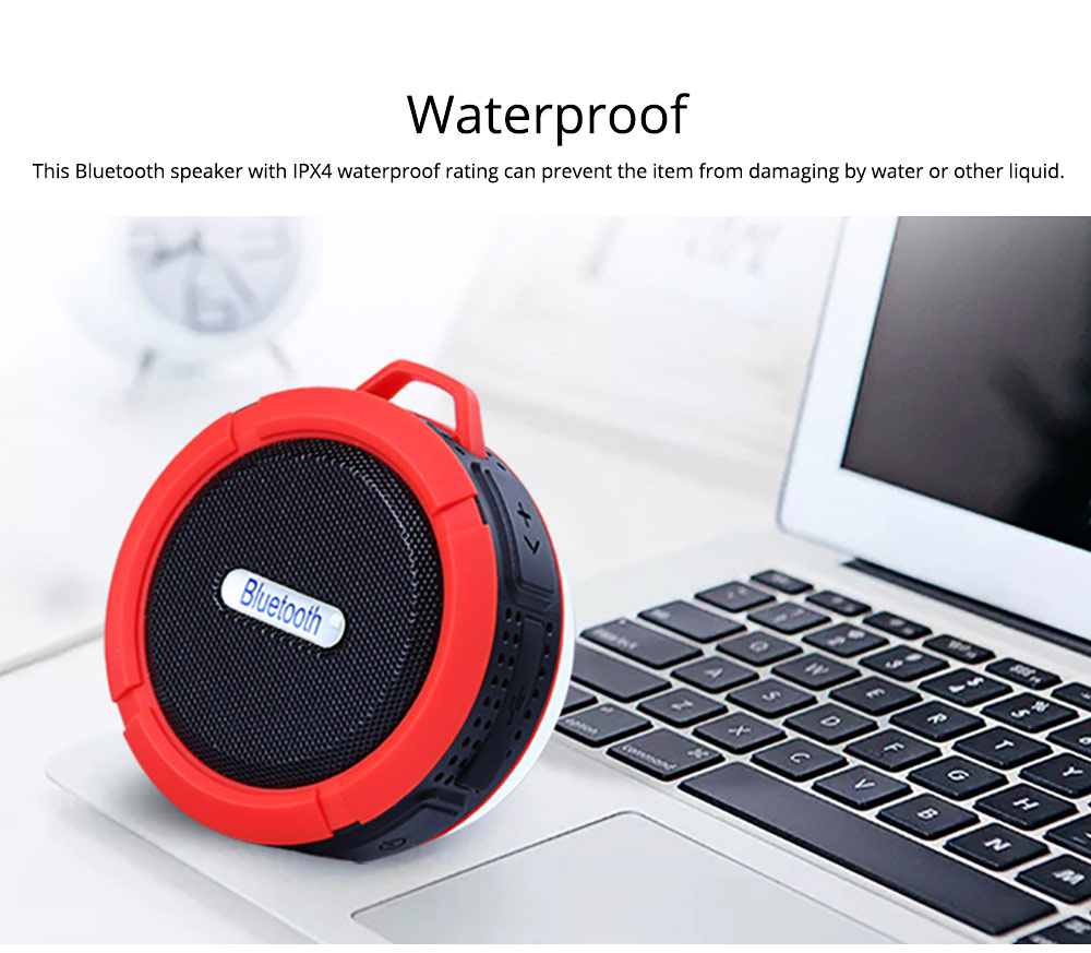 Outdoors Portable Mini Wireless Bluetooth4.0 Speaker, Functional Waterproof Small Sound Box with Sucker, Portable 3D Sound Quality Audio 10