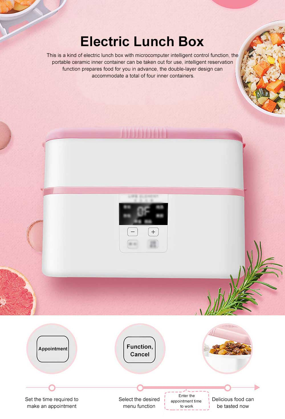 Electric Lunch Box Ceramic Intelligent Reservation Timing Lunch Box, Large Capacity Double-layer Heat Preservation Box 0