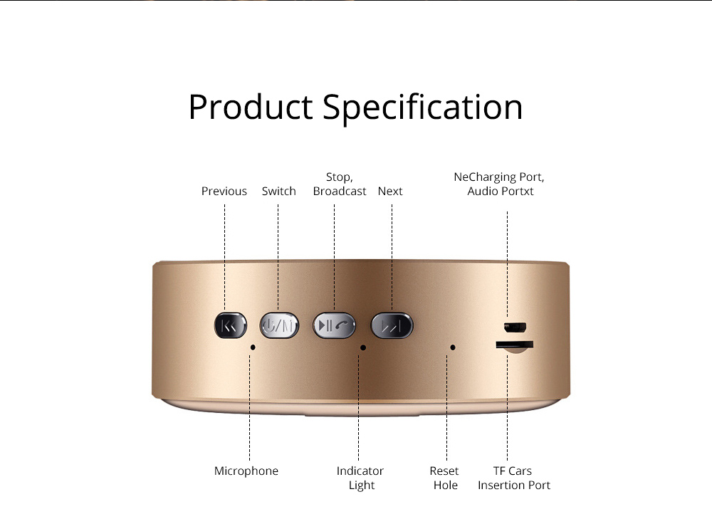 Mini Portable Sanded Plastic Speaker Sound Box, Delicate Mobile Phone Bluetooth Loudspeaker with Notify 7 Colors Light 10