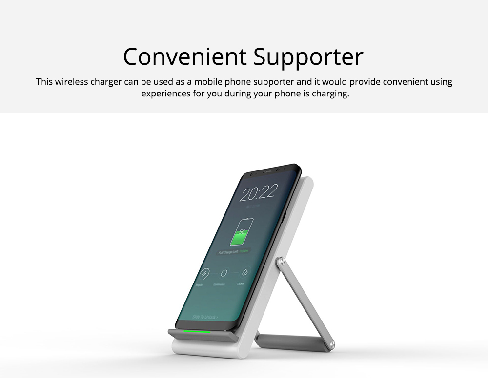 Minimalist Functional iPhone Samsung Huawei Xiaomi Wireless Charger, 10W 1.2A Quick Charge Mobile Phone Charger Supporter 3