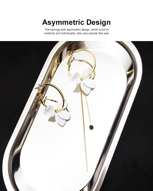925 Silver Earrings, Fashion Asymmetric Long Pendant, Chic Gold Circle Hoop Seaside Holiday Style Flower Eardrop 1
