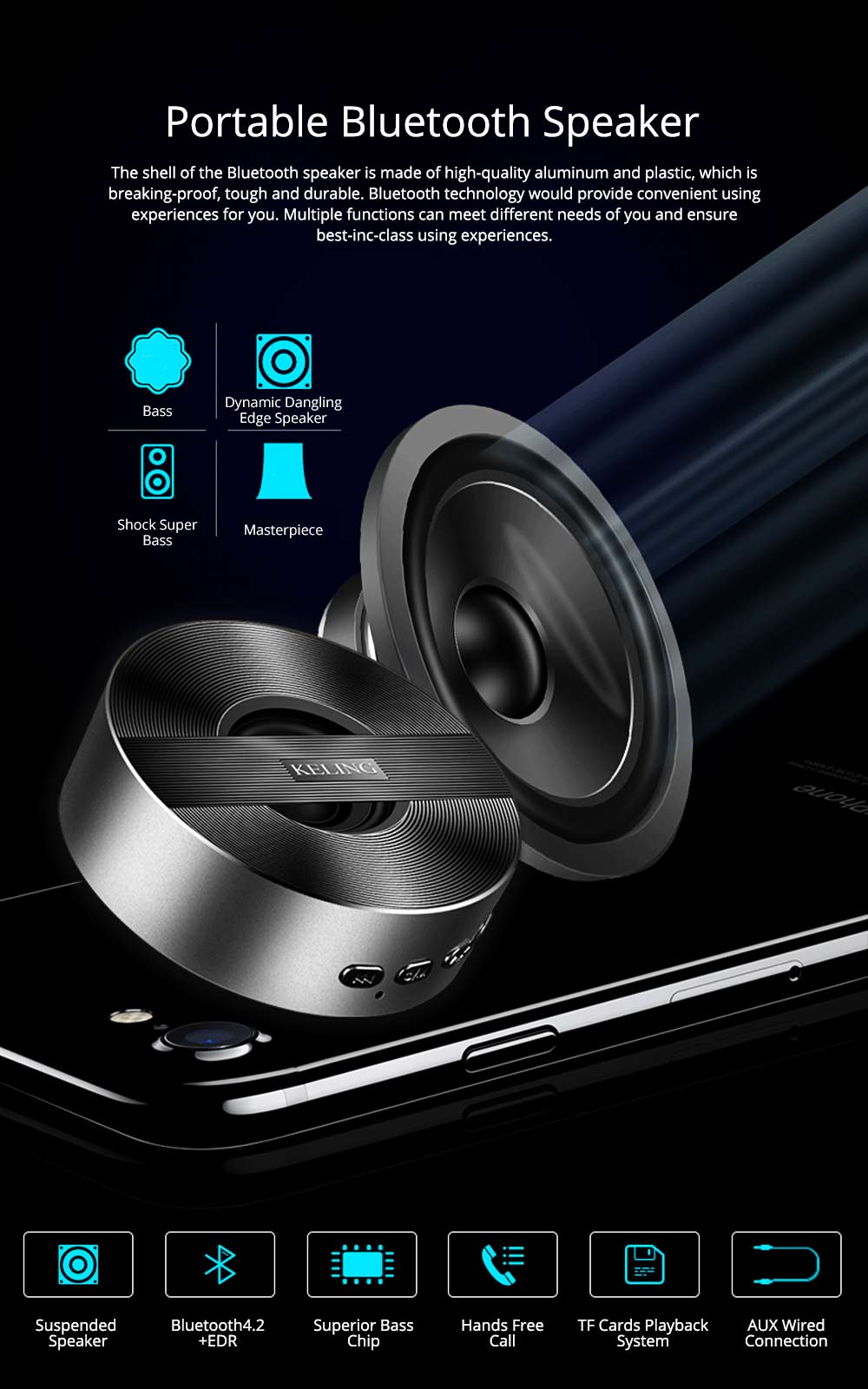 Mini Wireless Bluetooth Speaker, Delicate Subwoofer Card Sound Hands Free Calling Loudspeaker, Portable Phone Audio 0
