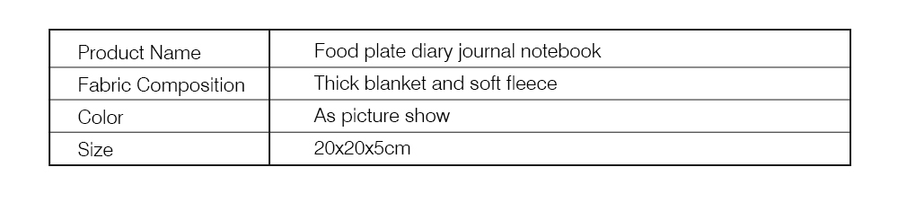 Stationery Creative Korea Japan Food Plate Diary,Loose-leaf Material Thick Blanket Soft Fleece Journal Notebook  8