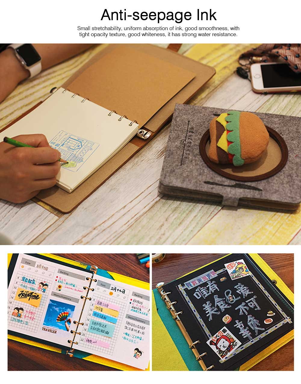 Stationery Creative Korea Japan Food Plate Diary,Loose-leaf Material Thick Blanket Soft Fleece Journal Notebook  6