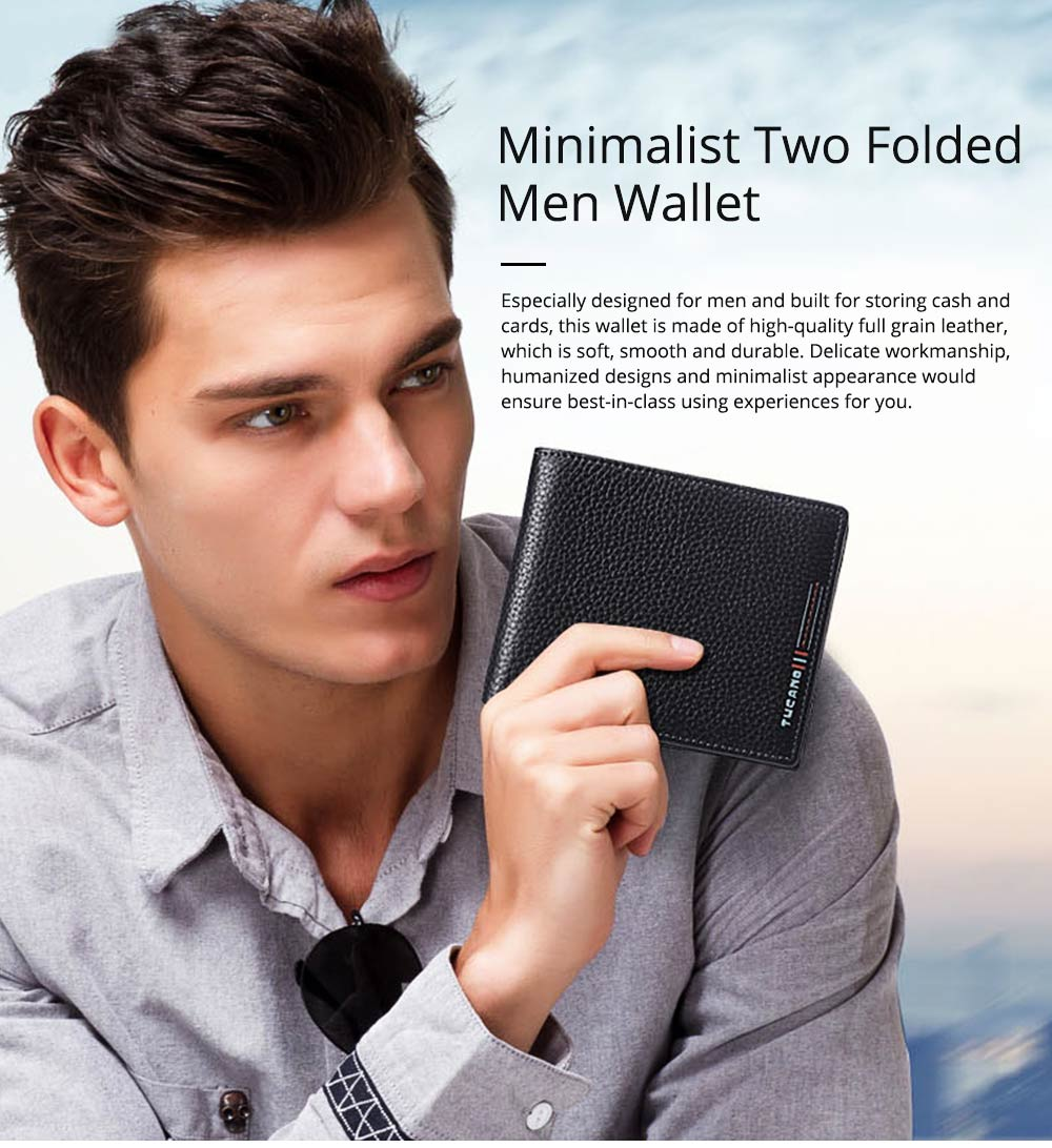 Simple Pure Color Business Full Grain Leather Men Wallet, Minimalist Fashion Teenager Two Folded Cowhide 0