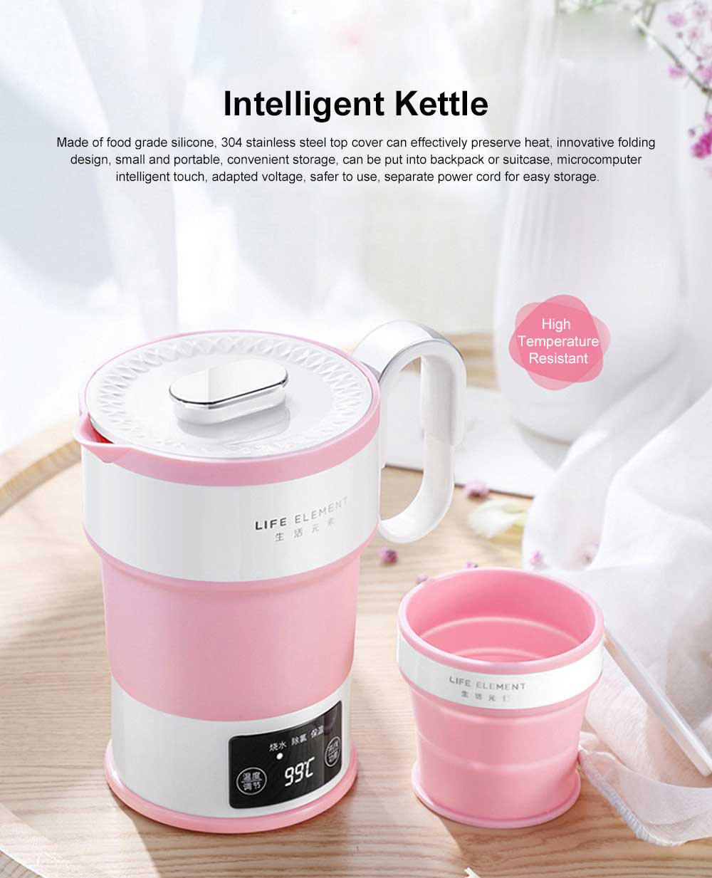Portable Electric Heating Cup, Food Grade Silicone Pink Compression Folding Kettle for Travel, Life Element Intelligent Water Bottle 0