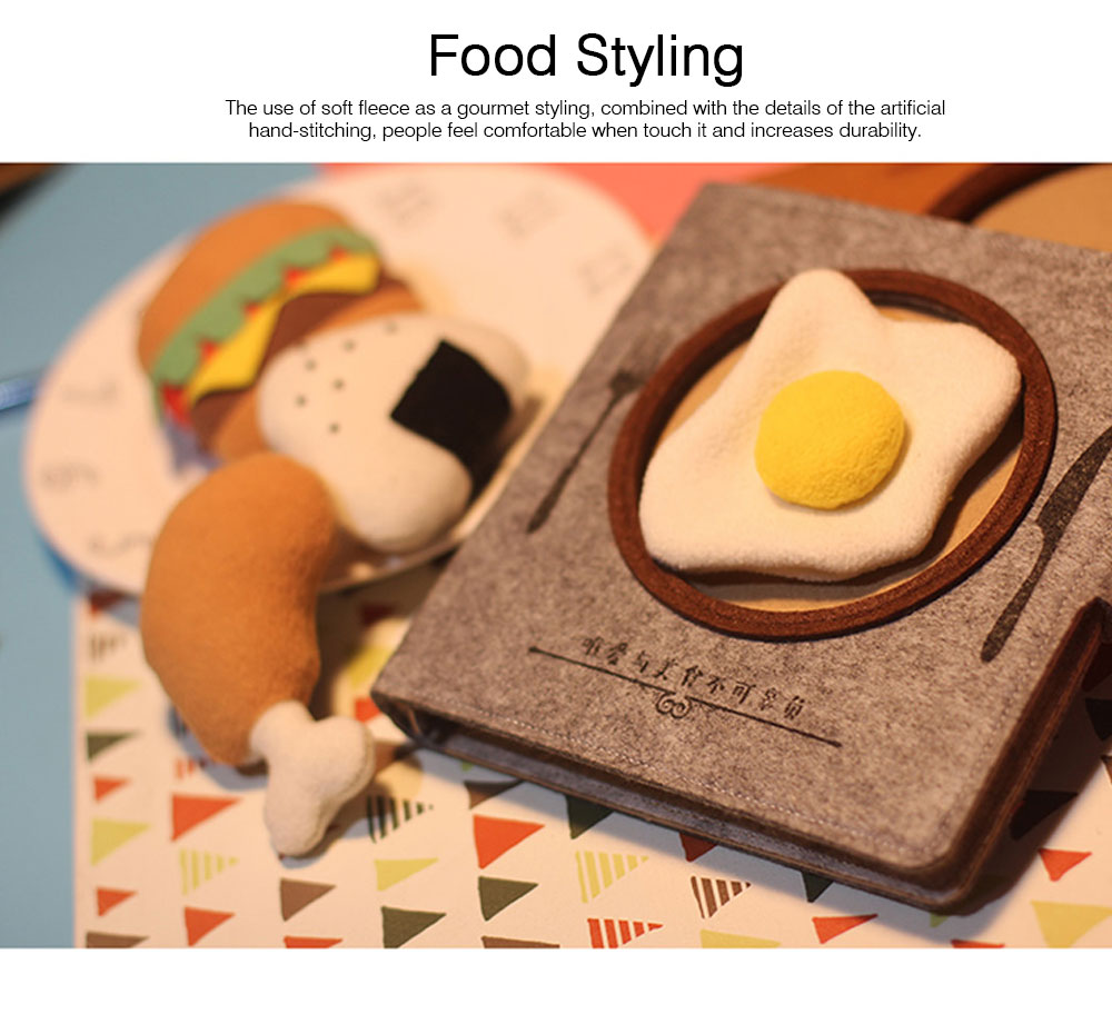 Stationery Creative Korea Japan Food Plate Diary,Loose-leaf Material Thick Blanket Soft Fleece Journal Notebook  2