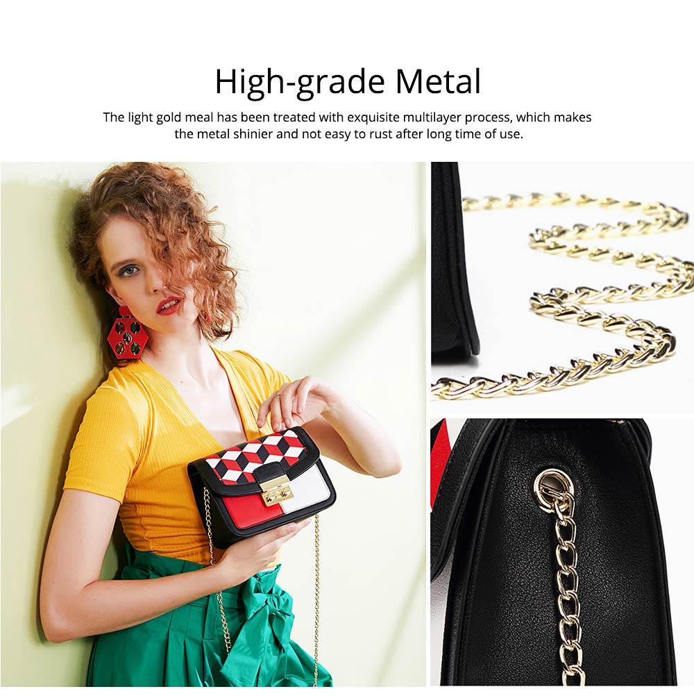 Minimalist Unique Contrast Colors Checked Women Shoulder Bag, Quality Metal Chain Geometric Figure Pattern Sling HandBag for Ladies 2