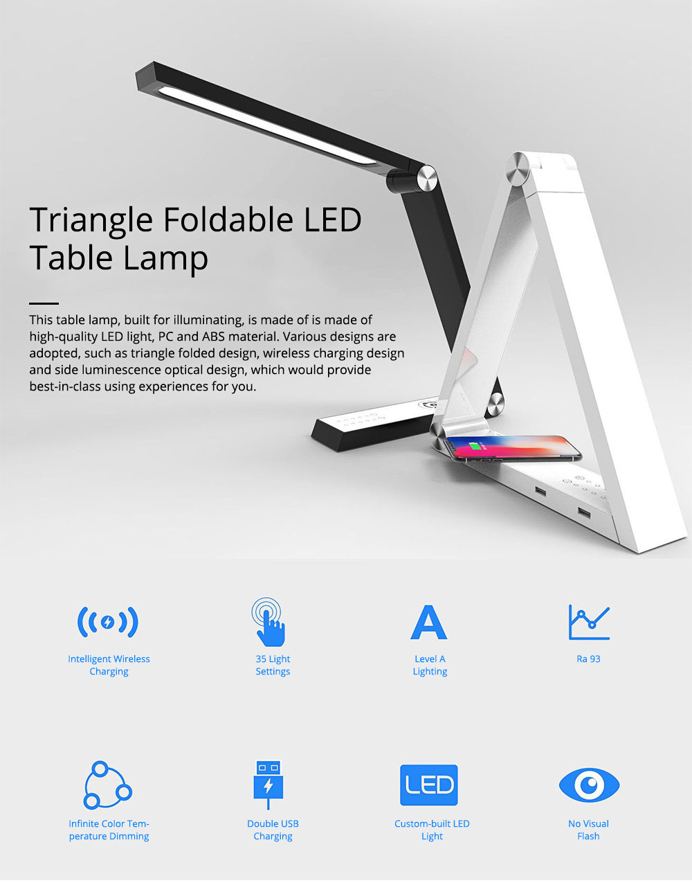 Creative Unique Triangle Foldable Multifunctional LED Table Lamp with Wireless Charger, Eye Protection Business Study Reading Intelligent Wireless Charging Tablet Light 0
