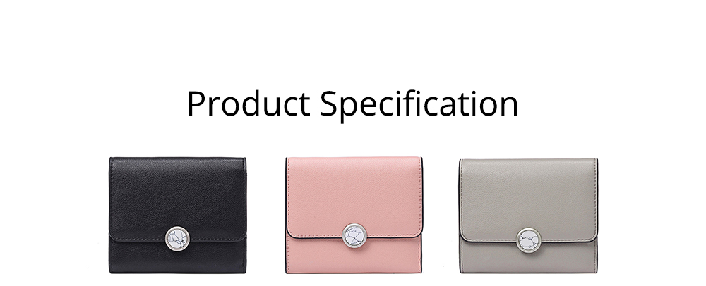 Minimalist Elegant Pure Color Small Leather Lady Purse, Functional Three Folded Smooth Oxhide Buckle Women Purse 8