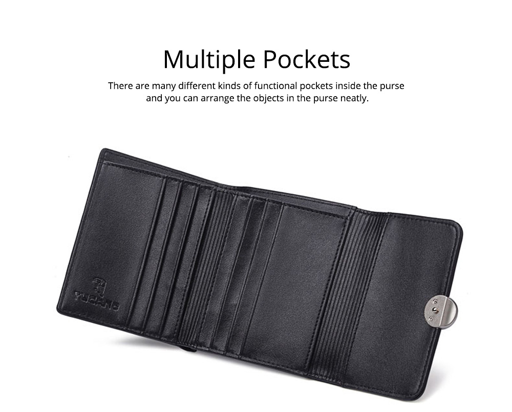 Minimalist Elegant Pure Color Small Leather Lady Purse, Functional Three Folded Smooth Oxhide Buckle Women Purse 5