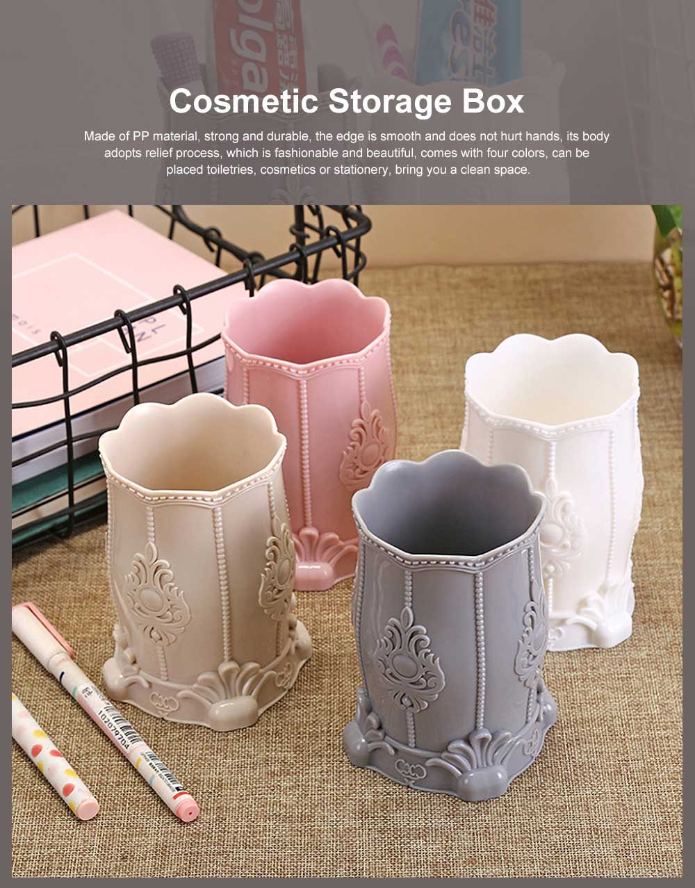 Cosmetic Storage Box, Plastic Western Style Multifunctional Desktop Office Storage, Pen Container Makeup Brush Holder 0