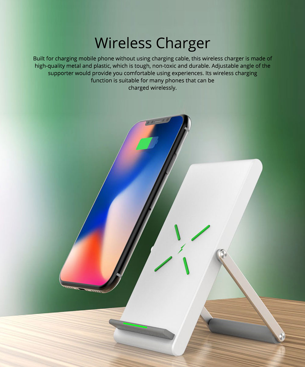 Minimalist Functional iPhone Samsung Huawei Xiaomi Wireless Charger, 10W 1.2A Quick Charge Mobile Phone Charger Supporter 0