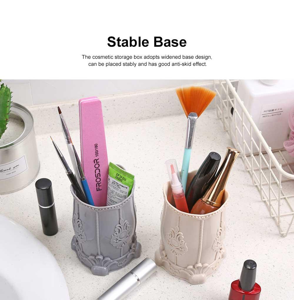 Cosmetic Storage Box, Plastic Western Style Multifunctional Desktop Office Storage, Pen Container Makeup Brush Holder 3